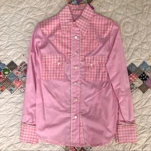 handmade 70s retro pink gingham button down top